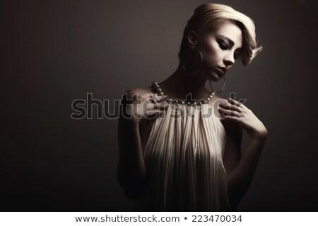 portré · gyönyörű · nő · göndör · haj · este · smink · ékszerek - stock fotó © victoria_andreas