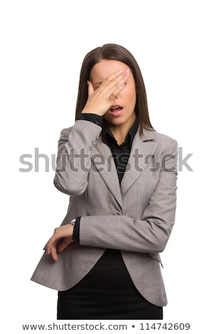 oh no   shocked business woman isolated on white stock photo © dacasdo