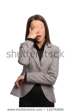 Foto stock: No · conmocionado · mujer · de · negocios · aislado · blanco · mujer