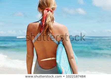 Jóvenes mujer rubia posando traje de baño dama Foto stock © konradbak