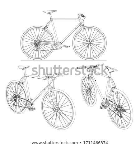 fiets · stencil · witte · grijs · beton - stockfoto © sirylok