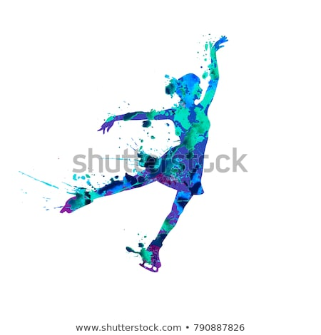figure skating colored silhouettes vector illustration stock photo © leonido
