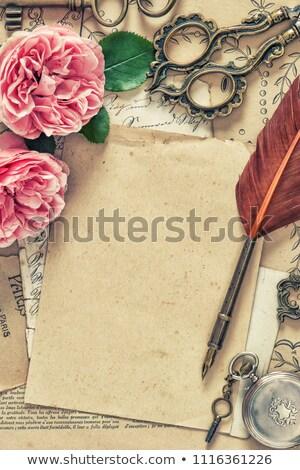 Oud papier rozen bloem liefde brief retro Stockfoto © cherju