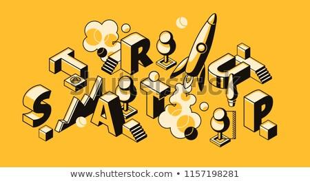 Cloud Technology on Yellow in Flat Design. Stock photo © tashatuvango