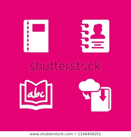 Ebook libro signo cuatro colores iconos de la web Foto stock © marinini