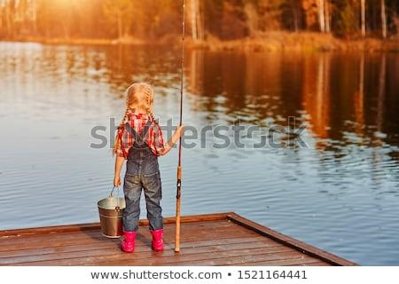 девочку рыбалки реке дерево трава весело Сток-фото © nizhava1956