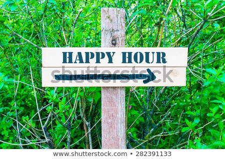 Stock photo: Happy Hours on Green Direction Arrow Sign.