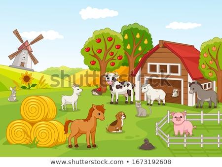 cartoon lamb with fruits stock photo © jancaj