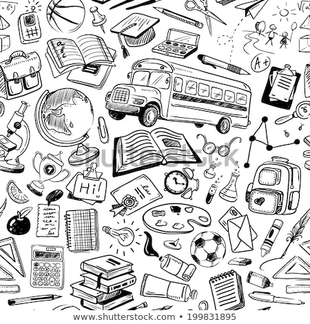 Sketch school bus, book, backpack  Stock photo © kali