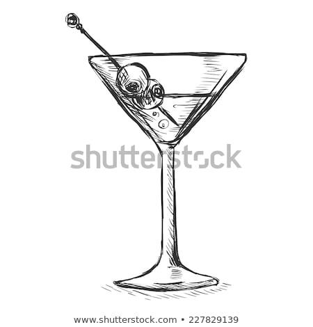 Rajz martinis pohár olajbogyó klasszikus stílus vektor Stock fotó © kali