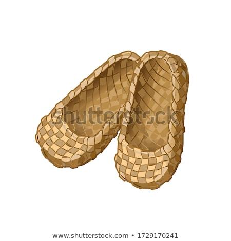 Saman ayakkabı saman bağlı yaz alan Stok fotoğraf © eleaner
