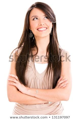 confuso · mulher · abrir · palms · belo · asiático - foto stock © deandrobot