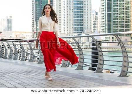 fiatal · szexi · nő · visel · vörös · ruha · pózol · lépcsősor - stock fotó © acidgrey