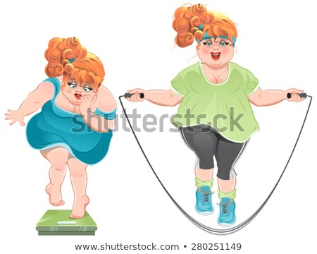 Fat woman with horror looks at the scales, and then jumps on a skipping rope Stock photo © orensila