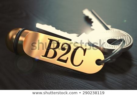 B2C - Bunch of Keys with Text on Golden Keychain. Stock photo © tashatuvango