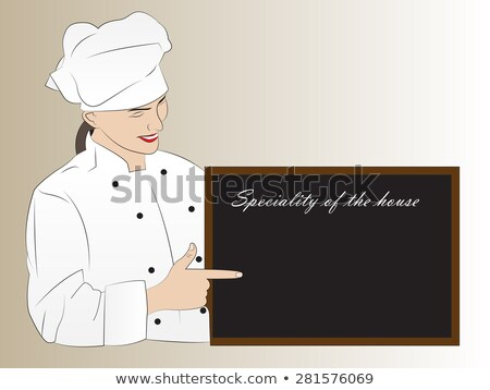 Woman chef presenting speciality of the house Stock photo © krash20