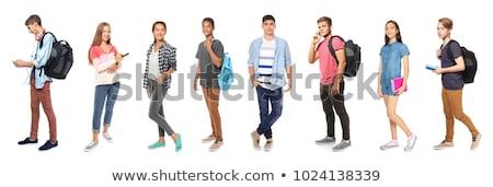 Student meisje boeken witte vrouw glimlach Stockfoto © Elnur