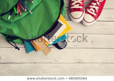 зеленый рюкзак школьные принадлежности изолированный иллюстрация вектора Сток-фото © orensila