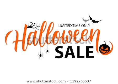 Stock photo: Halloween sale pumpkin banner, vector illustration