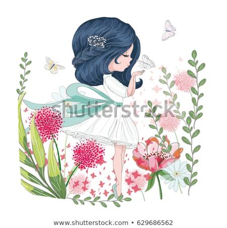 девочку бабочки букет цветы стороны газона Сток-фото © nizhava1956