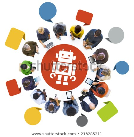 Robot with tablet phone. Global communication concept. Isolated. Contains clipping path Stock photo © Kirill_M