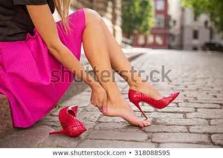 Kadın ayakkabı yüksek topuklu beyaz yalıtılmış kız Stok fotoğraf © artjazz