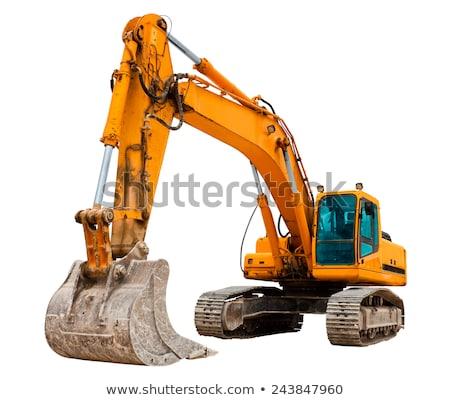 Amarelo escavadora isolado branco céu trabalhar Foto stock © jordanrusev