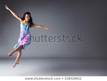 Jonge moderne balletdanser poseren Blauw vergadering Stockfoto © master1305