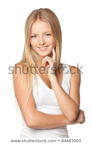 Mooie blonde vrouw glimlachend vinger wang witte Stockfoto © wavebreak_media