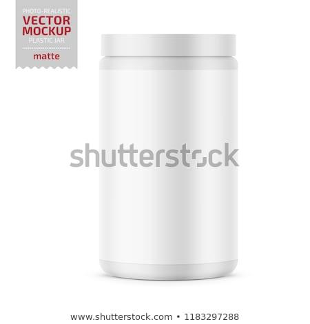 beyaz · plastik · şişe · vitaminler · yalıtılmış · arka · plan - stok fotoğraf © magraphics