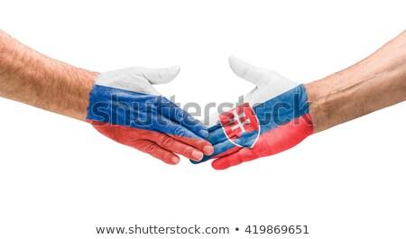 Futebol equipes aperto de mão Rússia Eslováquia mão Foto stock © Zerbor