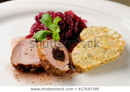 roast duck with bread dumplings and red cabbage stock photo © digifoodstock