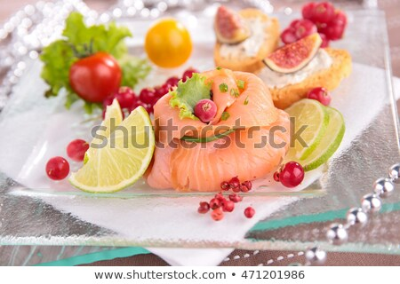 christmas entree with salmon and berry Stock photo © M-studio