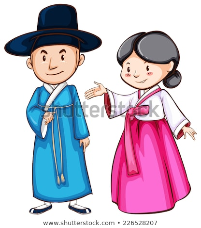 A simple drawing of people wearing the Asian attire Stock photo © bluering