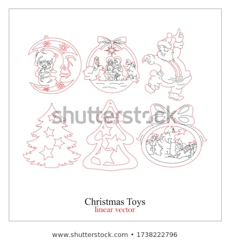 abstract christmas tree cuts on the red paper stock photo © tuulijumala