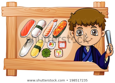 A frame with a boy beside the delectable sushi Stock photo © bluering