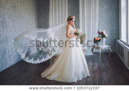 Esküvő fátyol közelkép fotó szexi boldog Stock fotó © Nneirda