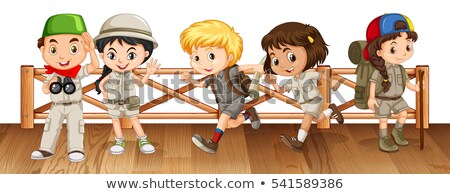 Five kids in safari outfit on the bridge Stock photo © bluering