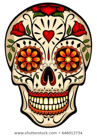 Decorated human skull for holiday Day of Dead Stock photo © orensila