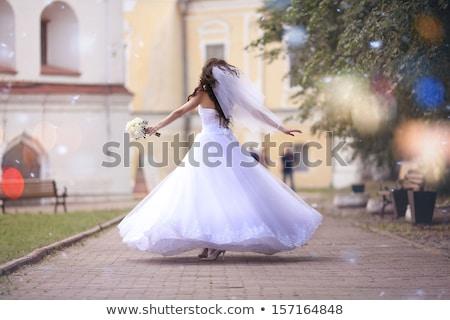 ストックフォト: Brunette Bride In Wedding Dress Elegant Lady With Makeup And Lo