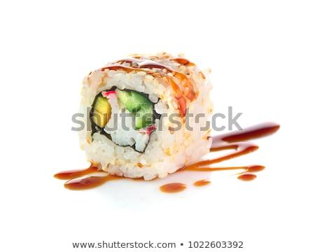 Sushi witte stukken collectie geïsoleerd plaat Stockfoto © jordanrusev