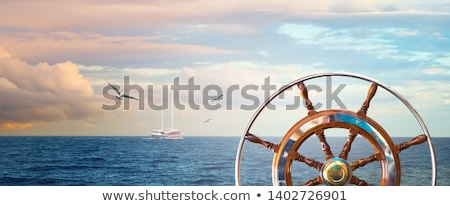 Horizontal banners of sailing ships with birds. stock photo © Vertyr
