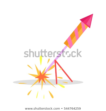 Christmas Firework Rocket Isolated Icon on Stand Stock photo © robuart
