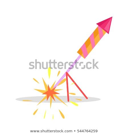 Navidad fuegos artificiales cohete aislado icono stand Foto stock © robuart