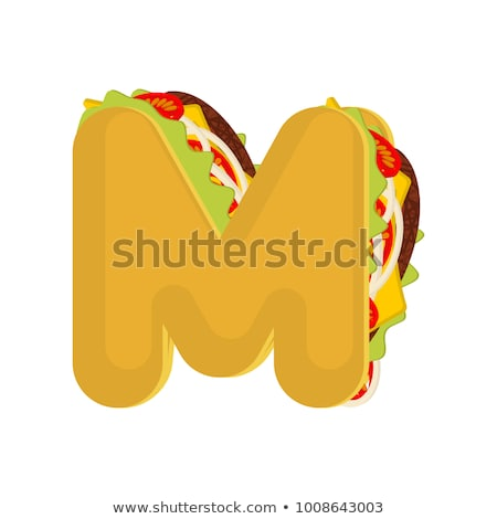 Letter A tacos. Mexican fast food font. Taco alphabet symbol. Me Stock photo © MaryValery