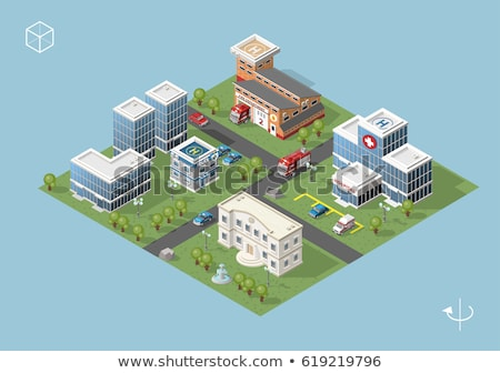 Vector isometric 3d illustration of city building with blueprint Stock photo © curiosity