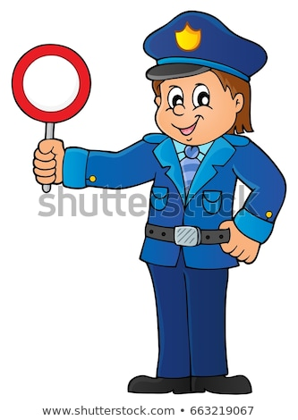 Policeman holds stop sign theme 1 Stock photo © clairev