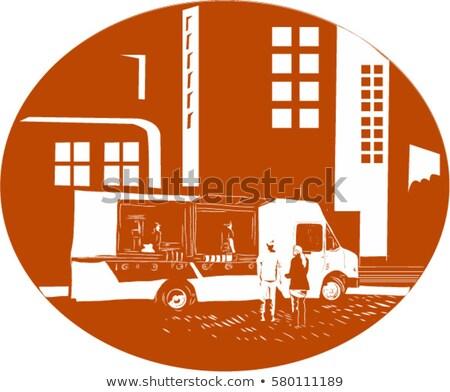 Gıda kamyon şehir binalar oval örnek Stok fotoğraf © patrimonio