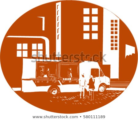 Food Truck City Buildings Oval Woodcut Stock photo © patrimonio