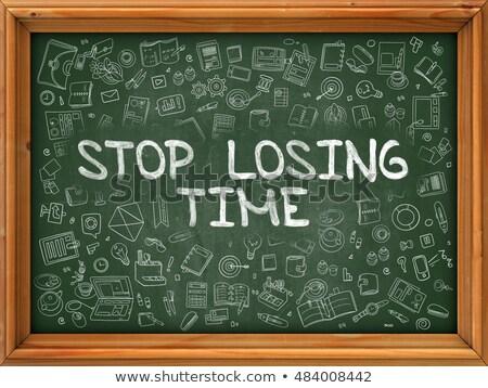 Stock fotó: Stop · idő · kézzel · rajzolt · zöld · tábla · firka